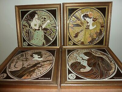 Framed Spring,Summer,Autumn & Winter Maws Tubelined Majolica 20.3Cm Square Tiles