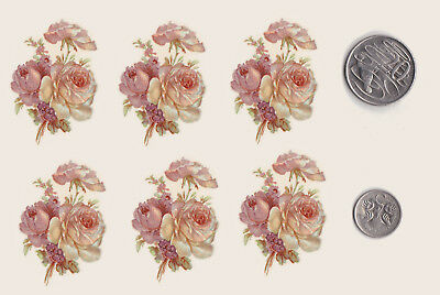 "6 x Waterslide ceramic decals Decoupage Pink roses Bunch 1 1/2"" x 1 1/2"" PD44"