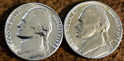 1958 P 1958 D Jefferson Nickels BU, Uncirculated