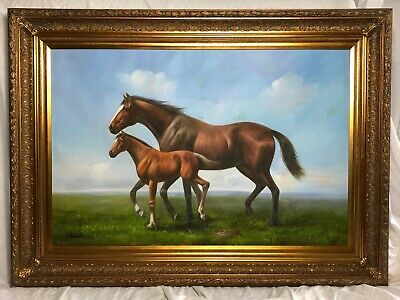 1 Large Oil Painting Victorian Style Race Horse & Foal After Abraham Cooper RA