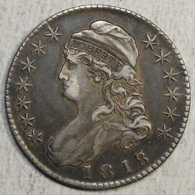 1818/7 Capped Bust Half Dollar, Popular Overdate, Extremely Fine    0929-02