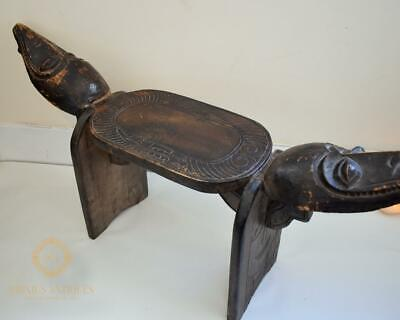 Large Vintage Carved Wooden African Tribal Stool Bench With Carved Faces