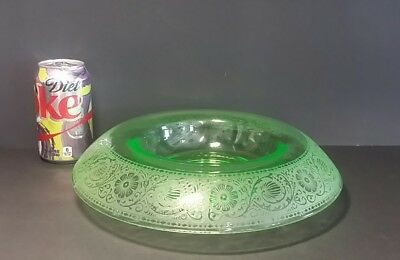 """Vintage Large Green Depression Glass Rolled Top Compote Condiment Candy Dish 11"""""""