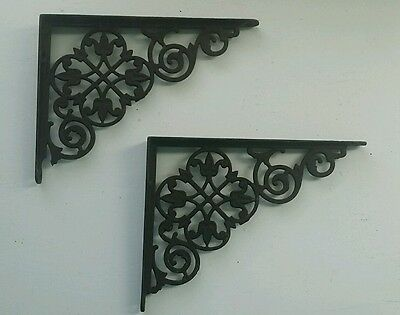 "Antique Victorian Ornate Cast Iron Shelf Brackets - Lace Tulip -Medium 8"" x 6"""