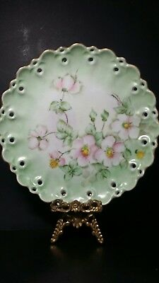 Antique Austria German Hand Painted Scalloped Reticulated Plate Blossom 9.5""