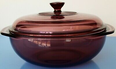 Pyrex CRANBERRY Covered Round Casserole Vegetable Dish 2 qt with Lid