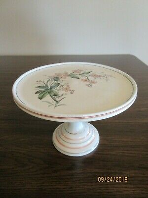 Antique Victorian White Milk Glass Cake Stand, Painted Pink Flowers