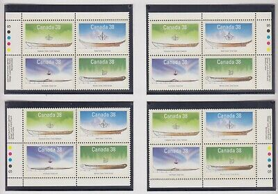 CANADA MATCHED SET PLATE BLOCKS 1229-1232MNH 38c x 16 SMALL CRAFT - 1