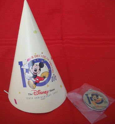The Disney Store 10th Anniversary Key chain & Party Hat NOS RARE