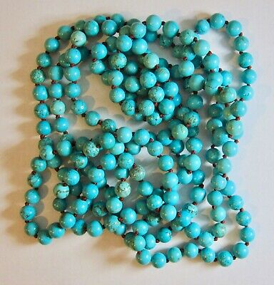 """Vintage Chinese Hand Knotted 8MM Turquoise Bead 80"""" Long Necklace 170 Grams"""