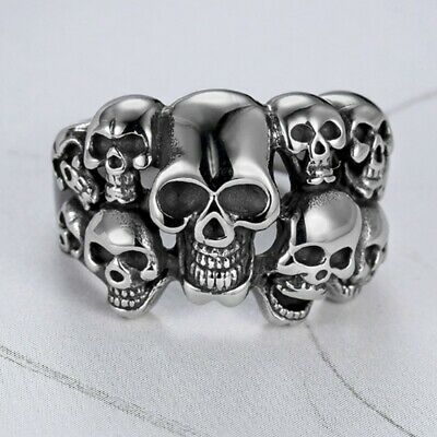 Gothic Punk Mens Silver 316L Stainless Steel Skull Ring Motorcycle Biker Jewelry