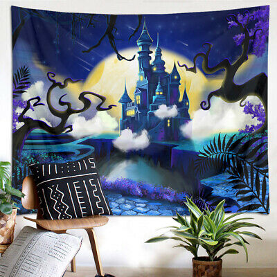 Tapestry Wall Hanging Halloween Fairytale Castle Bedspread Bedroom Home Decor