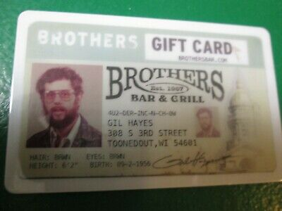 GIFT CARD $25.00 Brother's Bar & Grill Tavern Restaurant Dining Food Certificate