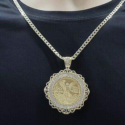 14K Gold Plated Mexican Centenario Moneda 50 Pesos CZ Pendant with Figaro Chain