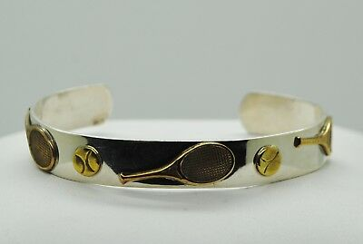 """Sterling Silver 6.75"""" Two-Toned W/Tennis Racquets & Balls Cuff Bracelet#Fmb152"""