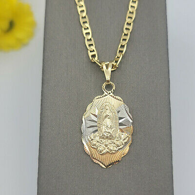 """Our Lady of Guadalupe pendant and 20"""" chain. Gold Plated. Virgen de Guadalupe."""