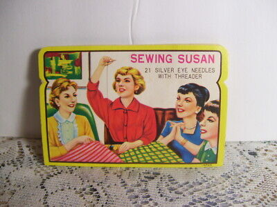 Vintage Sewing Susan Sewing Card 21 Silver Eye Needles with Threader