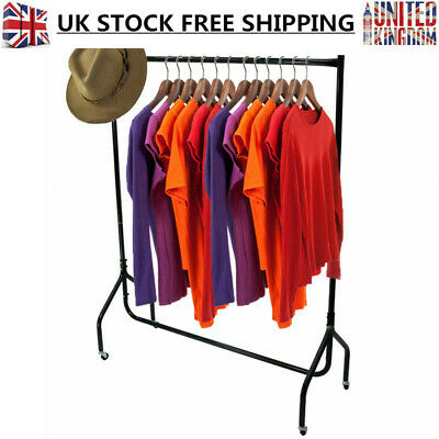 4ft Clothes Rail Super Heavy Duty Garment Coat Hanger Display Stand Hat Rack UK