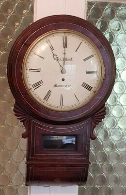 Mahogany English Drop Dial Fusee Convex Wall Clock S & J Best Manchester