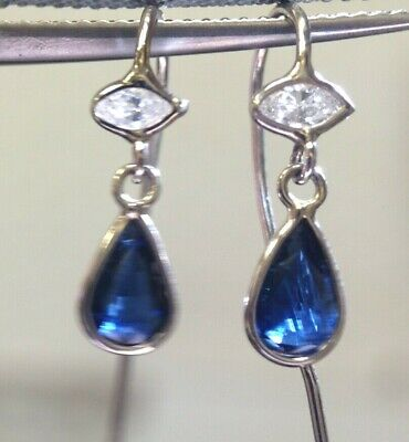 Natural 1CT Blue Sapphire and Marquis Diamond Eye 14K White Gold Hook Earrings