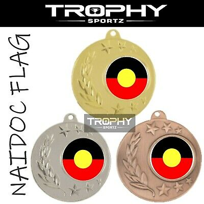 1x ABORIGINAL FLAG 50mm AUSTRALIAN NAIDOC medal FREE Engraving Ribbon POST AUS03