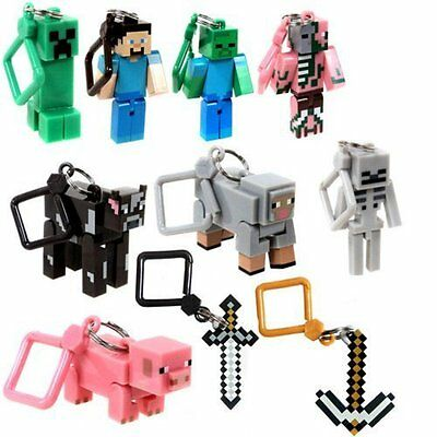 10Pcs Minecraft  Series 1 3D Keyring Keychain Belt Bag Hangers Toy Figures 3inch