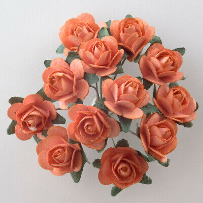 Orange Mulberry Paper Rose Small 15mm With Wire Green Bendy Stem