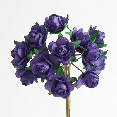 Purple Mulberry Paper Rose Small 15mm With Wire Green Bendy Stem