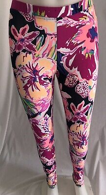 Lilly Pulitzer Pink, Navy, Purple Floral Leggings Girls Size XL 12-14, NWOT