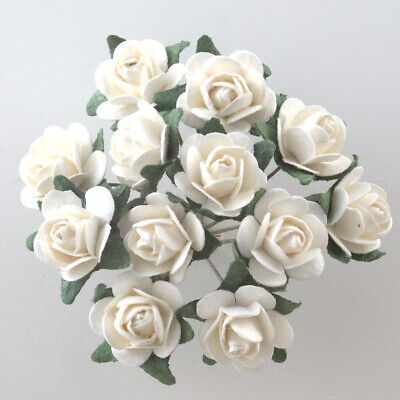 White Mulberry Paper Rose Small 15mm With Wire Green Bendy Stem