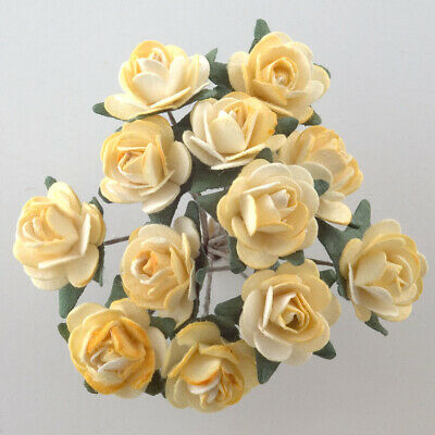 Yellow Mulberry Paper Rose Small 15mm With Wire Green Bendy Stem