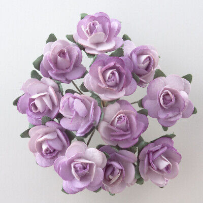 Lilac Mulberry Paper Rose Small 15mm With Wire Green Bendy Stem
