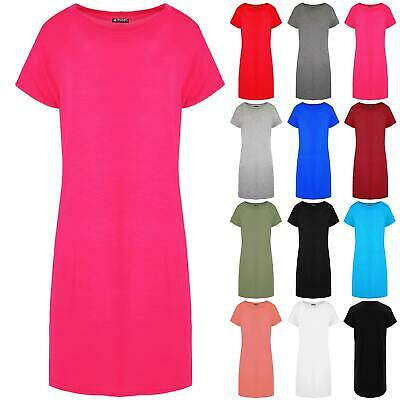 Womens Ladies Plain Oversized Baggy Cap Sleeve Tunic Longline T Shirt Mini Dress