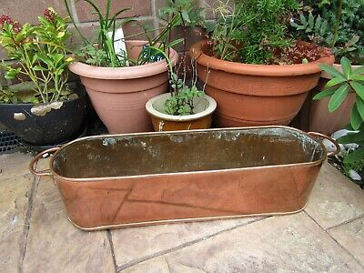 Antique Copper Cooking Fish Pan Roasting Dish ~ Planter Trough Window Box
