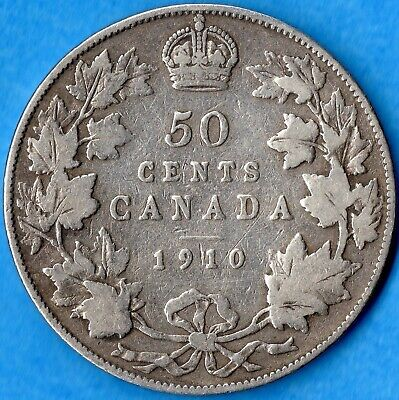 Canada 1910 Edward Leaves 50 Cents Fifty Cents Silver Coin - Very Good