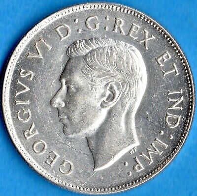 Canada 1943 50 Cents Fifty Cents Silver Coin - AU+