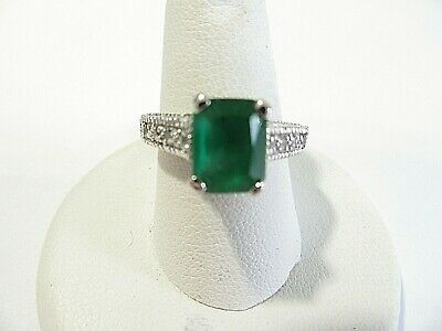 Silver Tone Ring With Green 'Stone' And Rhinestones Pretty Size 7.25
