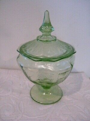 "Vintage Euc  Light Green Crackle Candy Dish  Depression Glass 9' X 6"" W/Lid"