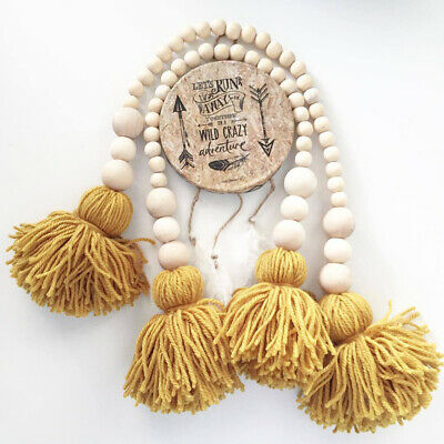 26cm Nordic Wood Beads Tassel Wall Hanging Ornament Living Room Tent Bed Decor