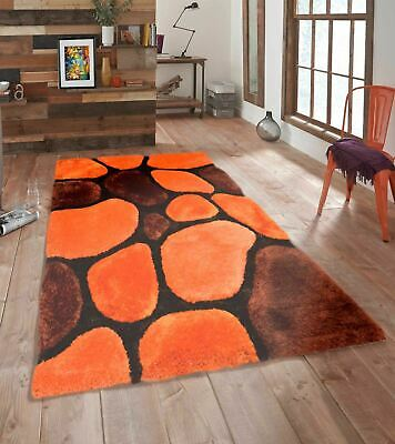 Terracotta 3D Pebbles Shaggy Rug  Small Large Non-Shed Polyester Soft Shag Pile