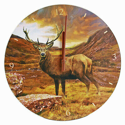 Classic Analogue Stag Design 12-Hour Wall Quartz Clock 1x AA Battery Operated