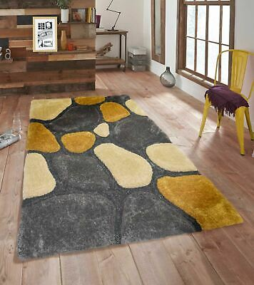 3D Pebbles Shaggy Rug Yellow Small Large Polyester Soft Shag Pile 32mm Carpet