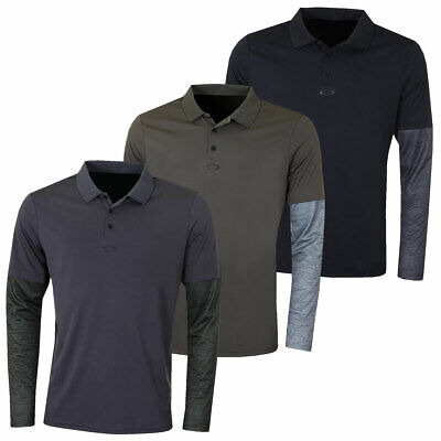 Oakley Mens Contrast Printed Long Sleeve 3 Button Golf Polo Shirt 61% OFF RRP
