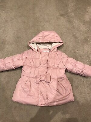Pink Bow Girls Coat From marks And spencer 12-18 Months