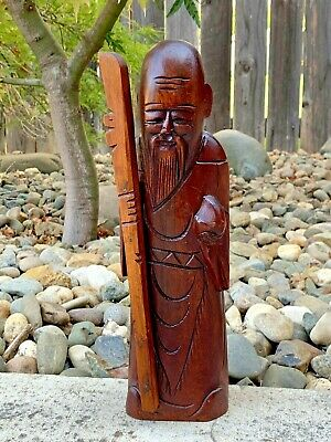 Vintage Carved Wood Sculpture Statue Old Chinese Wise Man w/ Beard Stick Antique