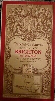 1912 Antique vintage Brighton Ordnance Survey Map 1 Inch 1 mile Edition No137