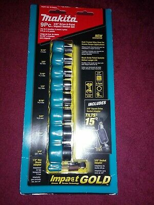 New Makita Drive B-34833 Impact Gold 9-PC SAE Socket Set 3/8 Drive 6-Point Short
