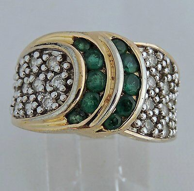 BEAUTIFUL ESTATE STERLING SILVER VERMEIL EMERALD WHITE STONE COCKTAIL RING sz 6