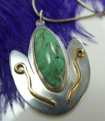 "Vintage Turquoise designer signed .925 Sterling Silver Vermeil trim 16"" Necklace"