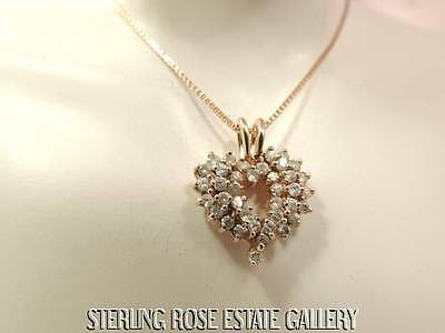 "3/4"" CUBIC ZIRCONIA OPEN HEART VERMEIL 0.925 Sterling Silver Estate Necklace"